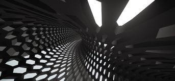 Abstract Hexagon Grid Mesh Tunnel. 3D Rendering Of Abstract Hexagon Grid Mesh Tunnel Royalty Free Stock Photo