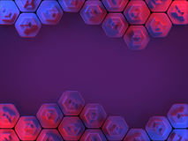 Abstract Hexagon Honeycomb Background in Red and Blue Royalty Free Stock Photo