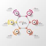 Abstract hexagon infographic ontwerpmalplaatje met cirkels Stock Fotografie