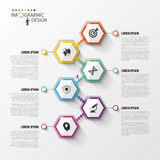 Abstract hexagon infographics of chronologiemalplaatje Vector illustratie Royalty-vrije Stock Foto