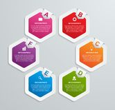 Abstract hexagon infographics template. Stock Images
