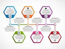 Abstract hexagon infographics template. Royalty Free Stock Photos