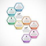 Abstract hexagon infographicsmalplaatje Stock Foto's