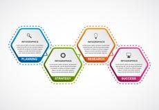 Abstract hexagon infographicsmalplaatje Royalty-vrije Stock Afbeeldingen