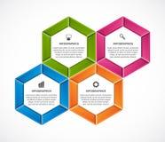 Abstract hexagon infographicsmalplaatje Stock Foto