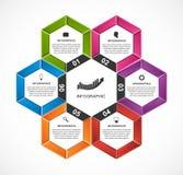 Abstract hexagon infographicsmalplaatje Stock Fotografie