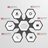 Abstract hexagon infographicsmalplaatje De elementen van het ontwerp Stock Fotografie