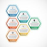 Abstract hexagon infographicsmalplaatje Infographics voor bedrijfspresentaties of informatiebanner Royalty-vrije Stock Fotografie