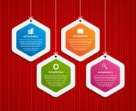 Abstract hexagon infographicsmalplaatje op een rode achtergrond Stock Fotografie