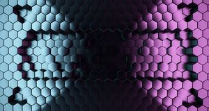 Abstract Hexagon Metal Surface With Color Lights.3D Rendering. Abstract Hexagon Metal Surface With Reflection And Color Lights.3D Rendering stock illustration