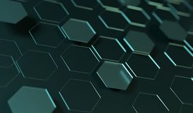 Abstract Hexagon Net Background Closeup. 3D Rendering Of Abstract Hexagon Net Background Closeup With Soft Focus Stock Image