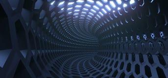 Abstract Hexagon Net Mesh Tunnel Stock Foto