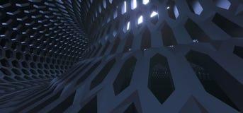 Abstract Hexagon Net Mesh Tunnel Royalty-vrije Stock Afbeelding
