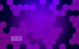Abstract hexagon ontwerp Modern concept voor website Violette achtergrond Hexagonale structuren en vormen Vector Royalty-vrije Stock Foto