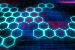 Hexagon pattern molecular sci fi vector illustration