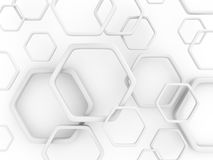 Abstract hexagon pattern white wall background Stock Image