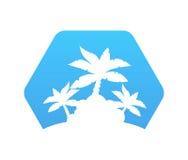 Abstract Hexagon Pictogram met Palmen Stock Foto's