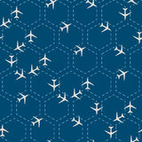 Abstract hexagon seamless pattern with airplanes Royalty Free Stock Photography