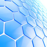 Abstract hexagon shape background. Abstract hexagon shape glossy blue copyspace background Royalty Free Stock Photography