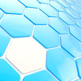 Abstract hexagon shape background. Abstract hexagon shape glossy blue copyspace background Stock Photos