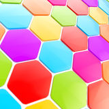 Abstract hexagon shape background. Abstract hexagon shape glossy colorful copyspace background Stock Images