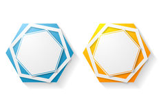 Abstract hexagon shape vector sticker Stock Photo