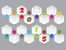 Abstract hexagon shaped 2015 calendar. Design with colorful elements Royalty Free Stock Images
