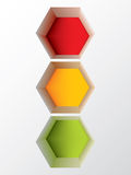 Abstract hexagon shaped traffic light design Royalty Free Stock Images