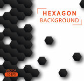 Abstract hexagon vector background. Geometric black technological background. Pattern design template. Design Concept leaflets, covers, business Royalty Free Stock Photography