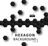 Abstract hexagon vector background. Geometric black technological background. Pattern design template. Design Concept leaflets, covers, business Stock Photo