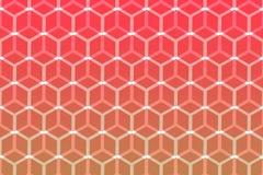 Abstract hexagonaal geometrisch vormpatroon met rode kleur Stock Foto's