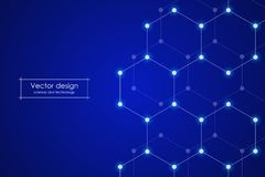 Abstract hexagonal background. Medical, scientific or technological concept. Geometric polygonal graphics. vector Royalty Free Stock Image
