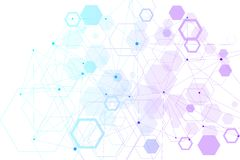 Abstract hexagonal background. Hexagonal molecular structures. Futuristic technology background in science style royalty free illustration