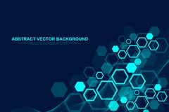 Abstract hexagonal background with waves. Hexagonal molecular structures. Futuristic technology background in science. Style. Graphic hex background for your royalty free illustration