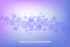 Abstract hexagonal background with waves. Hexagonal molecular structures. Futuristic technology background in science royalty free illustration