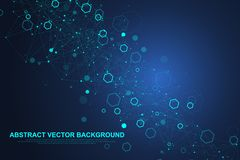 Abstract hexagonal background with waves. Hexagonal molecular structures. Futuristic technology background in science stock illustration
