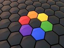 Abstract hexagonal color wheel. On black Royalty Free Stock Photos