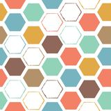 Abstract hexagonal colorful seamless pattern stock illustration