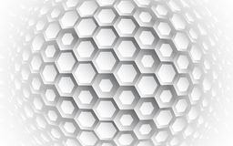 Abstract hexagonal 3d sphere vector background. Light and shadow effect. Technology geometric design royalty free illustration