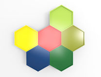 Abstract hexagonal glossy plastic badges. 3d render Royalty Free Stock Photos