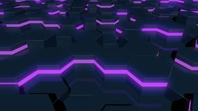 Abstract hexagonal glowing background. Flying over the luminous hexagons. Seamless loop sequences. stock illustration