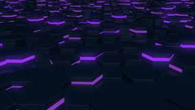 Abstract hexagonal glowing background. Flying over the luminous hexagons. Seamless loop sequences. royalty free illustration