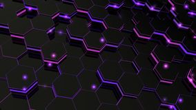 Abstract hexagonal glowing background. Seamless loop sequences. royalty free illustration