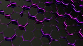 Abstract hexagonal glowing background. Seamless loop sequences. stock illustration