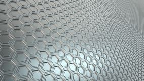Abstract hexagonal grid 16:9 metal background with blurred reflections. Abstract light perspective hexagonal grid 16:9 metal background with blurred reflections royalty free illustration