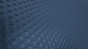 Abstract hexagonal grid 16:9 metal background with blurred reflections stock illustration