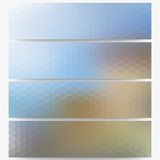 Abstract hexagonal headers set, blurred design Royalty Free Stock Photo