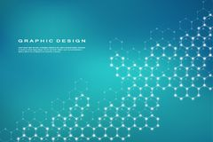 Abstract hexagonal molecule background, genetic and chemical compounds, scientific or technological concept vector Royalty Free Stock Photos