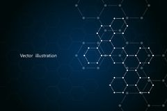 Abstract hexagonal molecule background, genetic and chemical compounds, scientific or technological concept vector Royalty Free Stock Image