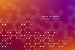 Abstract hexagonal molecule background, genetic and chemical compounds, scientific or technological concept vector Stock Photo